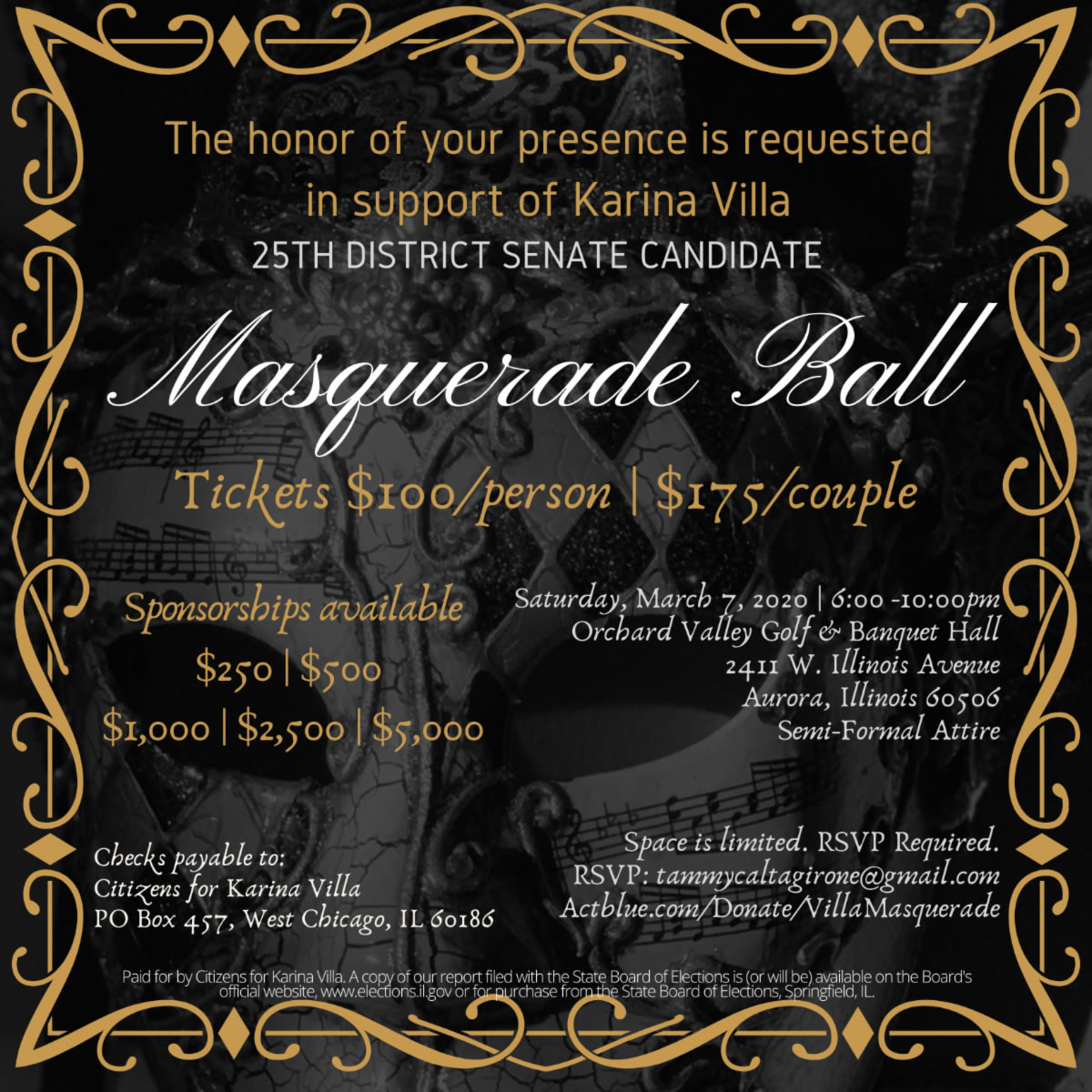 Karina Villa Masquerade Ball @ Orchard Valley Golf & Banquet Hall