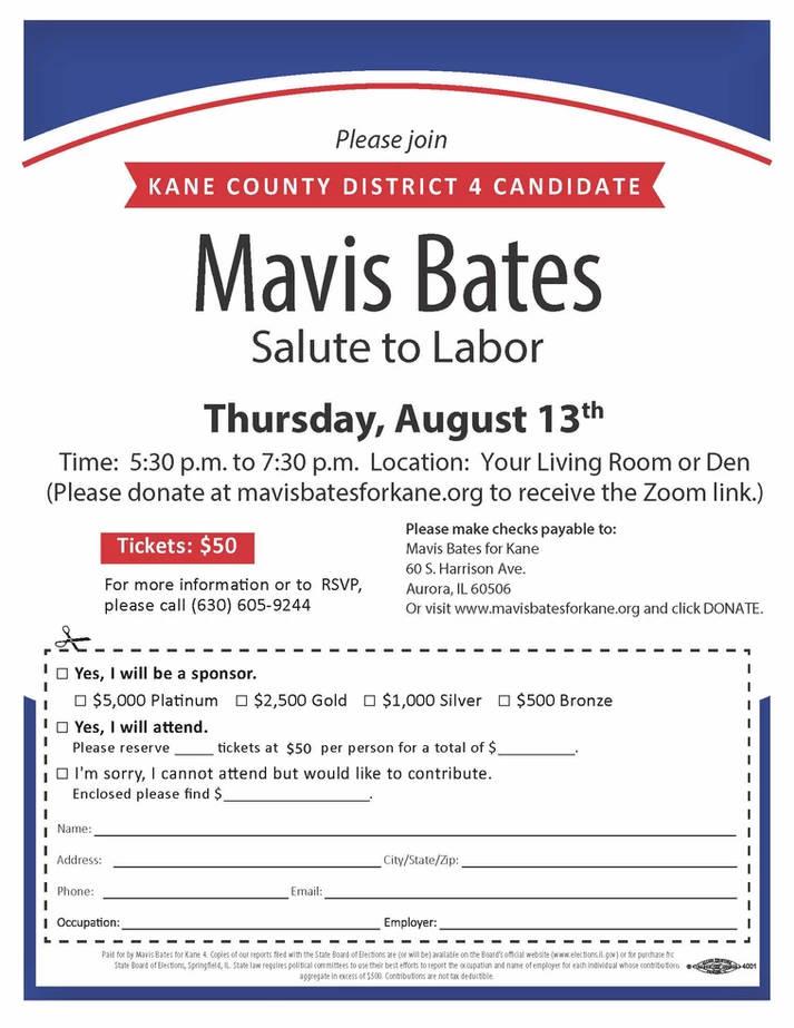 Mavis Bates Salute to Labor Fundraiser