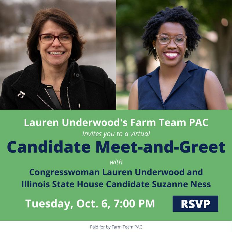 Candidate Meet & Greet: Congresswoman Lauren Underwood & Suzanne Ness @ Facebook Event